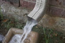 keep downspouts clean of leaves and and other debris that may clog your drain